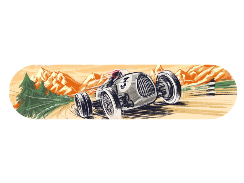 Alpine Racer vintage audi swiss mountains illustration auto car races history alps racer alpine