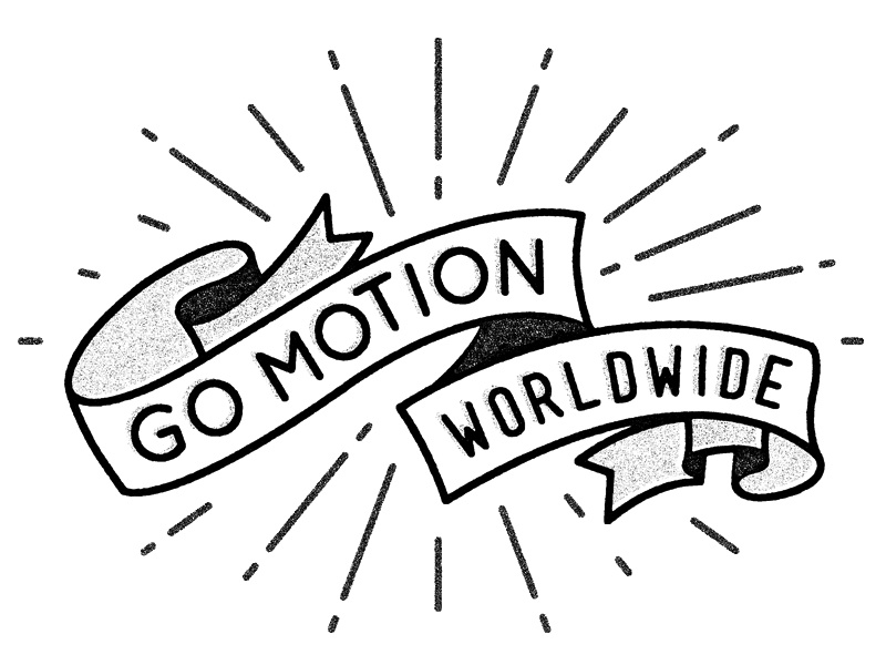 GO MOTION logo motion go lines rays banner texture type trendy