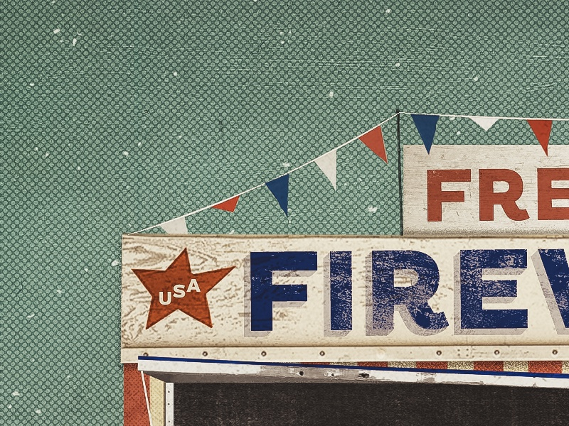 Firework halftone flags star illustration fireworks isa freedom collage texture font type