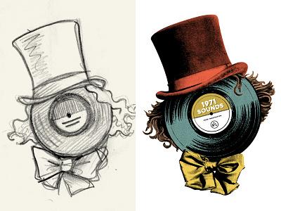 Wonky Wonk illustration top hat willy wonka charlie lp shirt record vinyl halftone collage hat wonka
