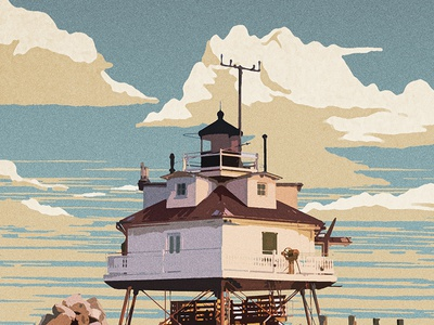 Chesapeake Bay Lighthouse chesapeake bay texture ocean clouds nps wpa poster vintage lighthouse chesapeake