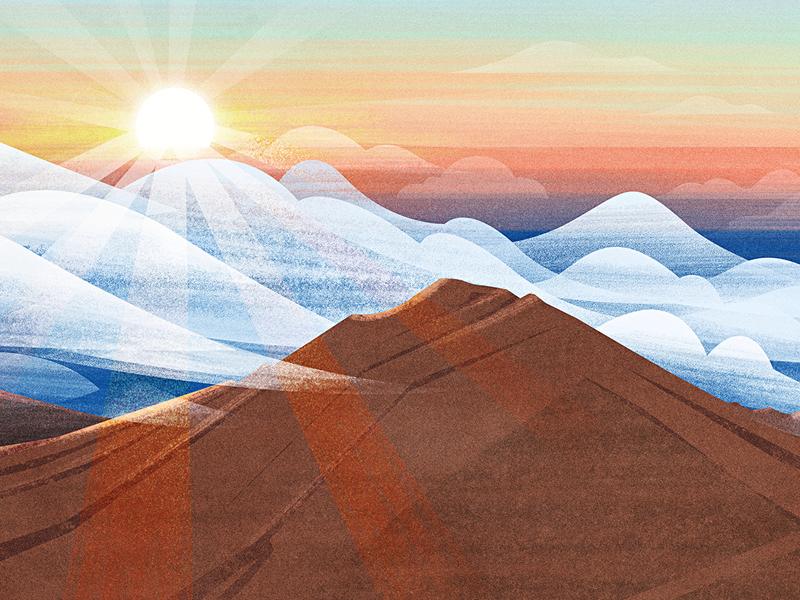 Haleakala ps illustration texture clouds mountains volcano maui hawaii sunrise haleakala