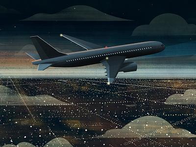Night Flight jet gouache lights night los angeles la city flight plane airplane