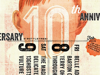Skybucket 10th Anniversary Poster collage texture 10 type typography face opie