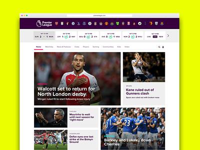 Premier League UI Concepts - Homepage visualdesign uiconcept ui