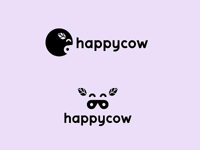 Happycow. graphic logodesign green purple graphic design vegan veg cow happy branding logo illustrator berlin design vector illustration