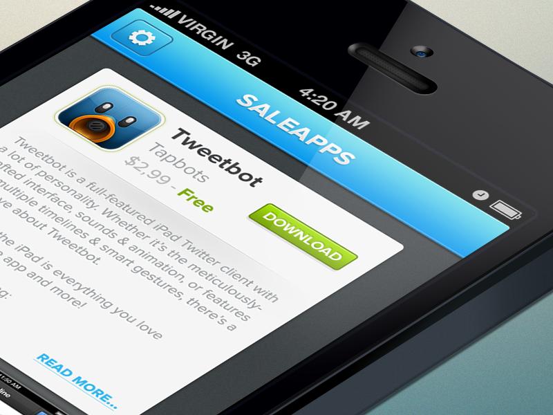 Saleapps | Free iOS UI PSD | ui sale apps free freebie psd free psd iphone psd