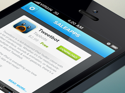 Saleapps | Free iOS UI PSD | ui sale apps free freebie psd free psd iphone psd