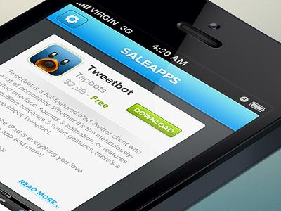 Saleapps   Free iOS UI PSD   ui sale apps free freebie psd free psd iphone psd