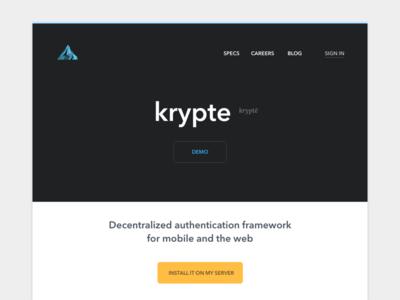Krypte Hackathon + Freebie krypte web ui mobile ios web design