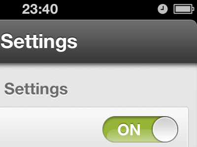 Settings ON. settings switchers on green iphone ios app picc