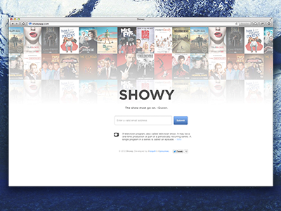 Showy landing page! showy shows tv shows app web teaser landing page