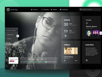 Circle Play - Web Music Player simple design websites songs clean ui webmusic webdesign landingpage ui  ux spotify uimusic website uidesign taylor swift red music player music music app