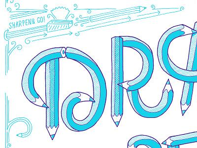 Hand-drawn lettering pencil illustration lettering
