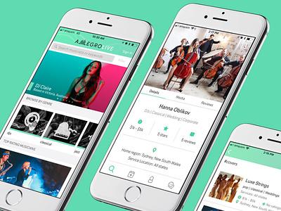 Allegro Live ux ui design app