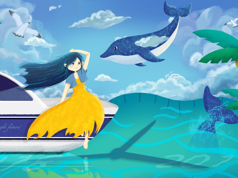 Future seagull girl sea time dolphin dream yacht desire expect fairy tale future lovely illustration