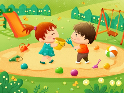 Illustration-Make friends at the playground