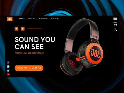 JBL Headphones - Landing Page website logo branding art web ui ux illustration typography design