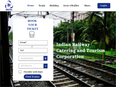 IRCTC Home Page Redesign logo website web ux ui typography design