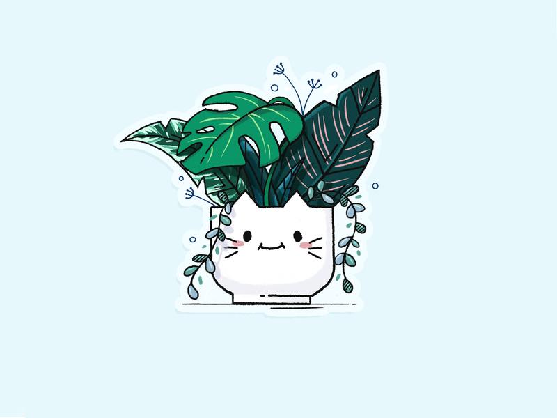🌿 plant illustration procreate leafs plant cat illustration