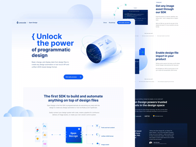 Open Design 🚀 clean hero header cloud illustration animation website design assets abstract ux code dev api website webdesign branding vector ui design