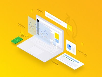 Isometric illustration for PPC Bee