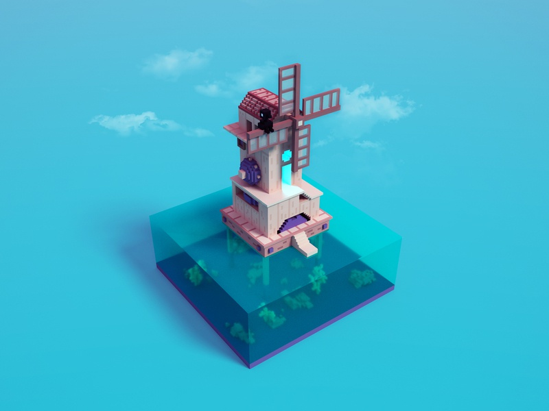 Voxel Monument Valley windmill render 3d concept monument valley pixelart voxelart