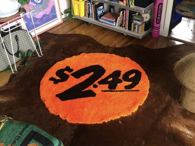 $2.49 Rug bodega nostalgia price tag sticker home goods rug