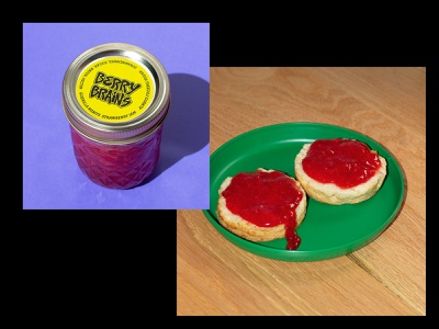Berry Brains Jam branding photography jelly biscuits typography hardcore punk jam