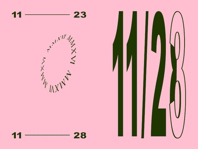 dates print design zine roman numerals stretched type stretched typography arial