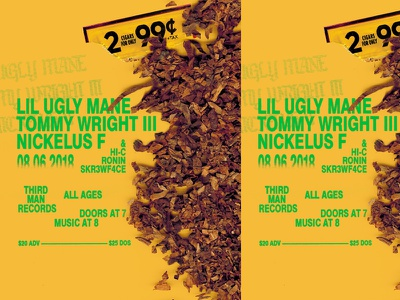 LIL UGLY MANE 666 rap music poster show flier typography blunts weed