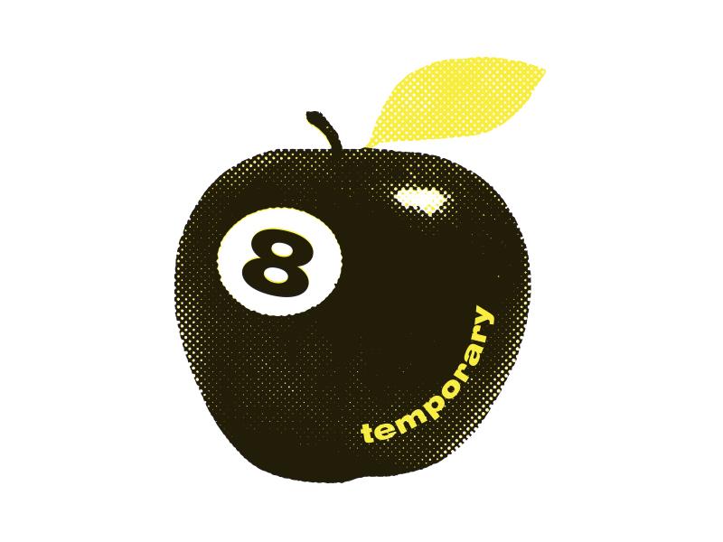 Temporary Shirt 8 ball screen print apple t shirt shirt skate