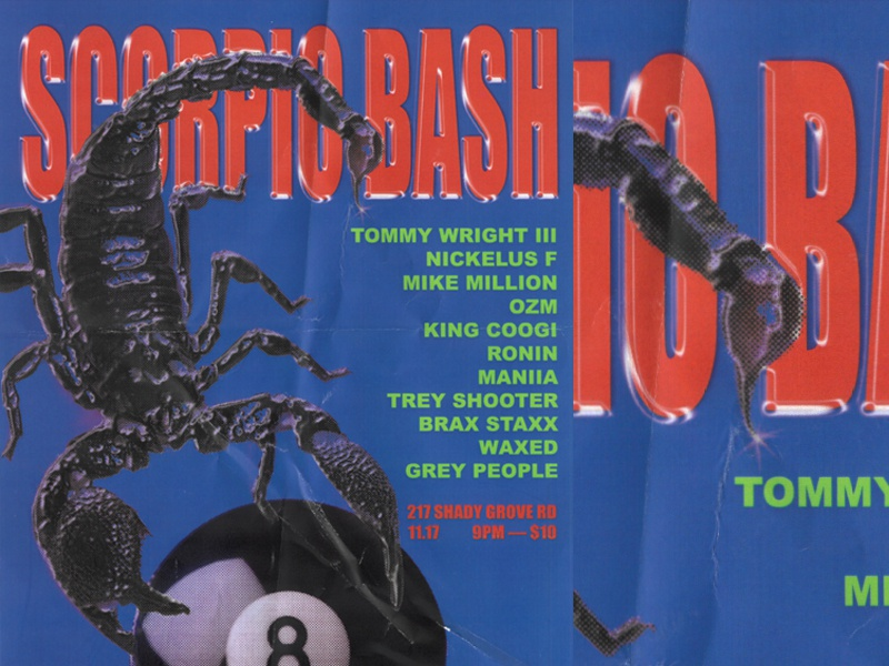 Scorpio Bash Poster hip hop rap scorpion 8 ball typography texture poster design