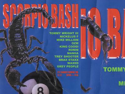 Scorpio Bash Poster hip hop rap scorpion 8 ball typography texture poster design