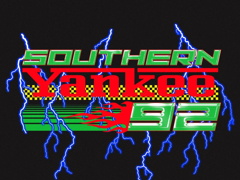 vroom vroom, baby 90s racing vroom fast gradient lightning typography nascar