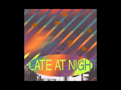 'Late at Night' Single cover rap music stretched colors grain noise texture album art
