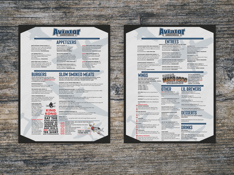Menu design for Aviator Brewery in Fuquay Varina, NC planes brewery aviator indesign menu design design menu