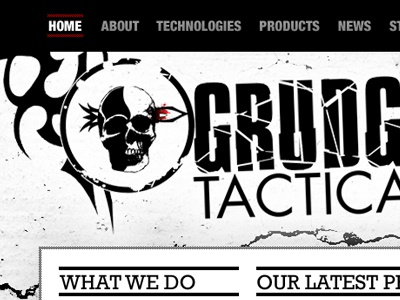 Grudge Tactical V2 website navigation red black white grungy