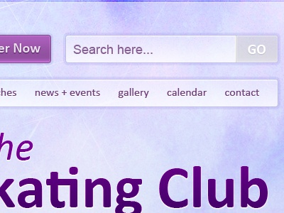 Skating Club Website navigation search button heading purple