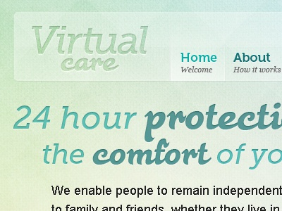 Virtual Care V2 website texture logo soft feature typography