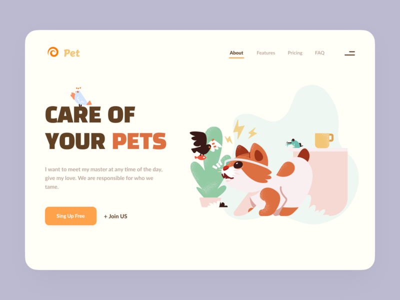 Pets care clean pets animals minimal interface landing landing page design web ux ui illustration