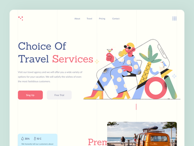 Travel travel travel agency clean web ux ui minimal landing page landing interface illustration