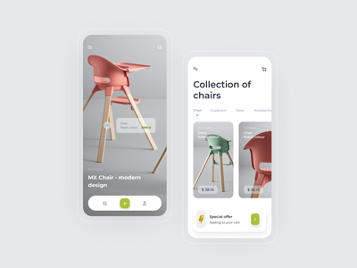 Furniture Store App product shop store furniture mobile application chair app design app clean ux ui minimal e-commerce