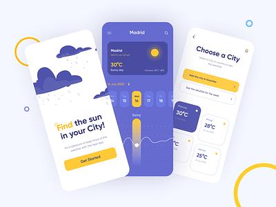 Weather App mood illustration app design sunny day color mobile app design clean ux ui minimal