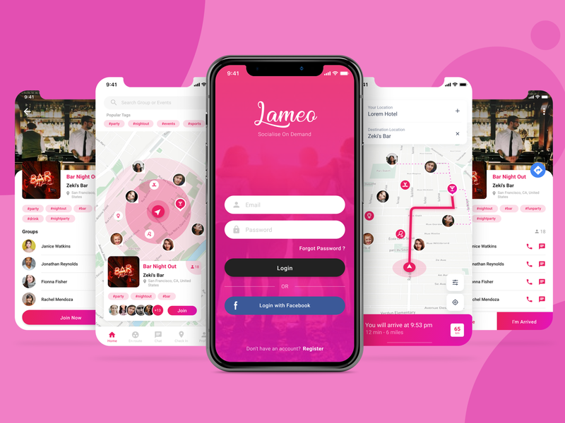 Social App To Meetup meeting meetup social app ui ux design ui ux designer pink mobile app mobile app design mobile design mobile ui application app design app ui web app ui  ux uiux ui design