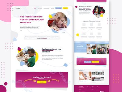 Kids School education landing page design web page website web designer web design ui landing page landingpage illustration uiux ui  ux ui design