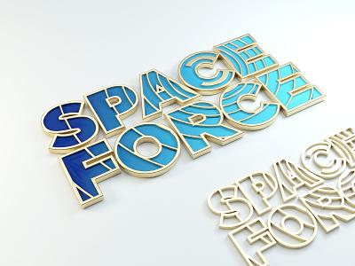 Space Force logo space illustration typography 3d art render blender 3d text 3d