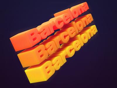 Barcelona illustration orange isometric blender3d 3d art render blender 3d type 3d