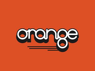 orange flat lettering typography illustration