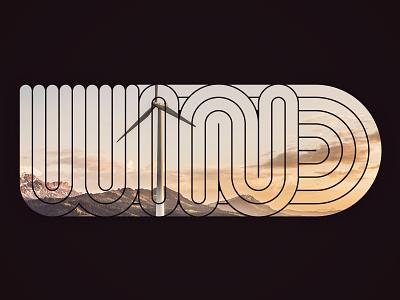Wind curvy flat line typography type illustration